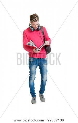 Teenage student  holding bag and books isolated on white