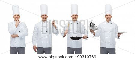 cooking, profession, inspiration, advertisement and people concept - happy male chef cook in toque holding kitchen utensils and pointing finger up poster