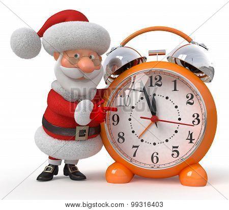 Santa Claus With An Alarm Clock