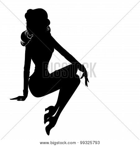 Pin-up Woman Silhouette