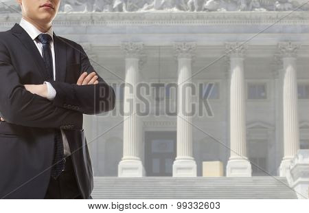 The lawyer is on against the courthouse