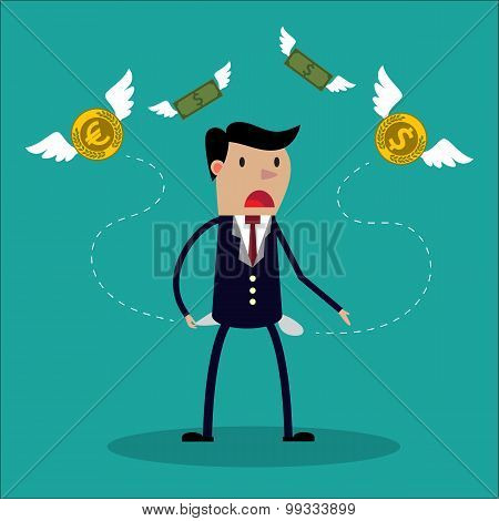 Businessman has no money - a man in search of money. Stock Vector illustration.
