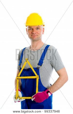 Friendly Worker With Yardstick- House