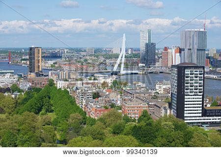 Aerial view to the modern buildings of Rotterdam and Erasmus bridge in Rotterdam, Netherlands.
