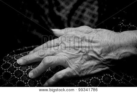 Asian Old Woman 's Hand Closeup Black And White