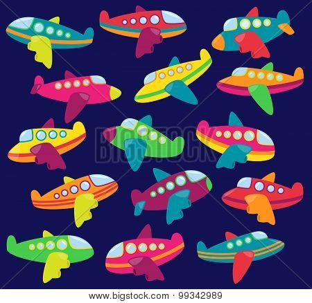 Vector Collection of Cute Airplanes or Airplane Toys