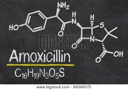 Blackboard With The Chemical Formula Of Amoxicillin