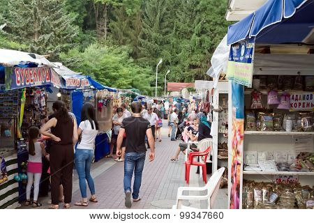 Tent Bazaar With A Variety Of Souvenir Shops