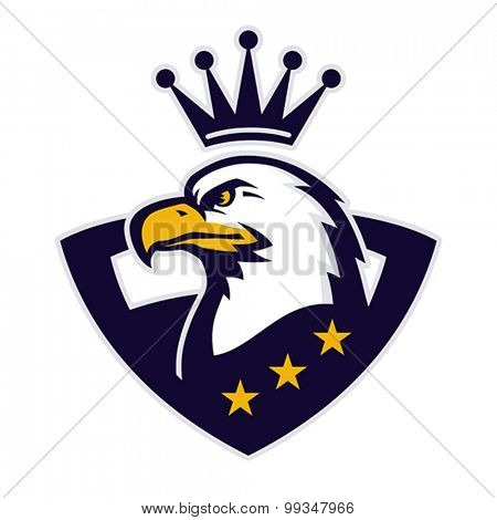 Mascot with crowned American eagle. Vector format EPS 8, CMYK.
