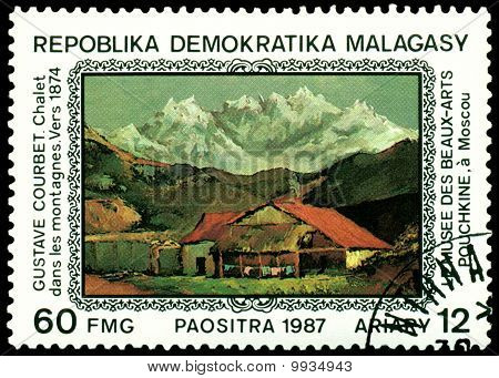 Vintage  Postage Stamp. Gustave Courbert. Cottage In The Mountains.