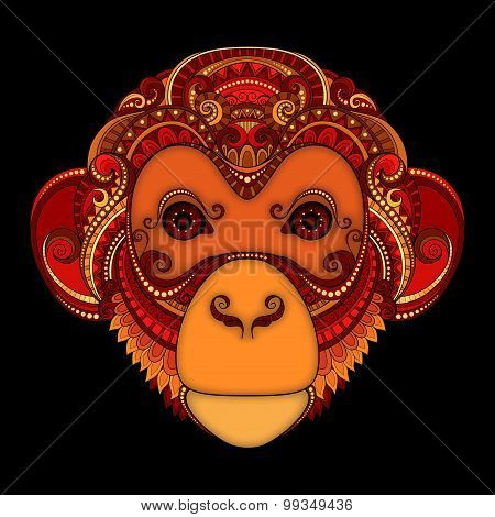 Vector Ornate Monkey Head. Patterned Tribal Colored Design