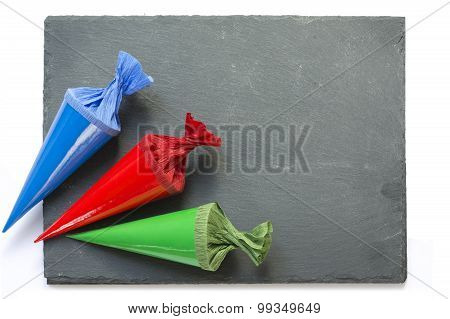 School Cones On A  Blackboard With Copy Space, Isolated On White