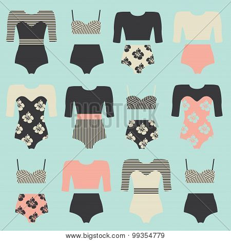 Vector set of vintage surfing swimsuits. Surf swimwear isolated on sea blue background. Fashion illustration of swimsuits and bikini. Surfing clothing. poster