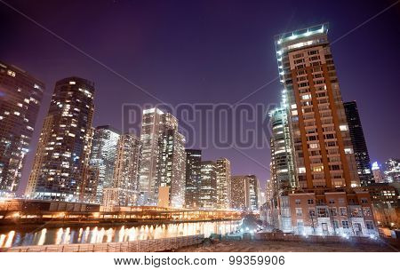 Inner Canal Waterway Downtown Chicago City Skyline