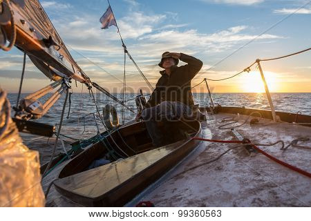 Senior Retired Sailing Buenos Aires River To Uruguay. Sport Freedom.