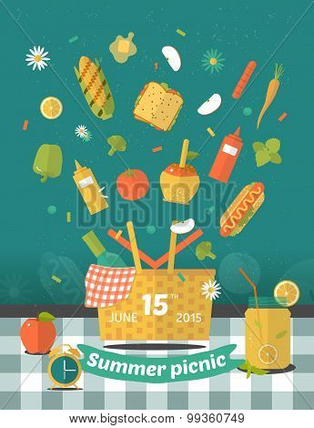 Vector Family Picnic Glade Illustration. Food And Pastime Icons. Flat. Barbecue Object,  Picnic Item