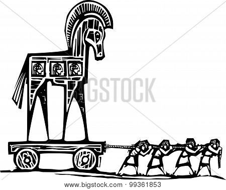 Woodcut style expressionist image of the Greek Trojan Horse being dragged into Troy. poster