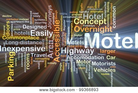 Background concept wordcloud illustration of motel glowing light