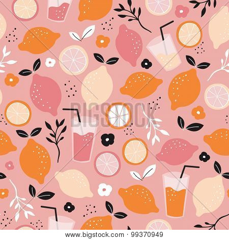 Seamless citrus fruit orange juice mocktail lemonade illustration backgrounf pattern isolated on white in vector