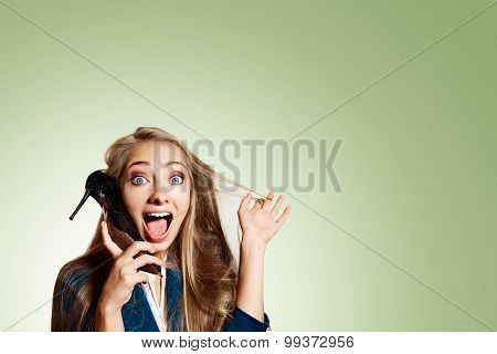 Closeup Portrait Of Happy Young Handsome Blonde Woman Looking Shocked Surprised Call Of Her Shoe, Is