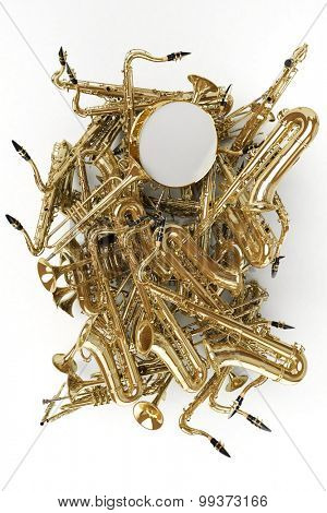 3D rendering of a heap of saxophones and other musical instruments