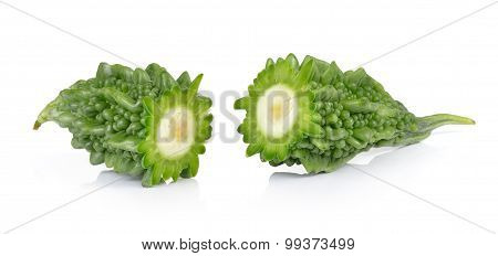 Bitter Melon Slices Isolated On White Background