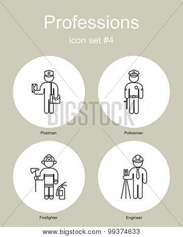 Set of simple monochrome icons of various professions. Editable vector illustration.