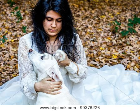 Latina Teen With Dog And Rat