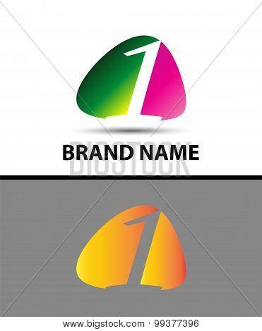 Number logo design.Number one logo