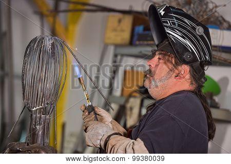 Blowtorch Worker-metal Worker In Workshop