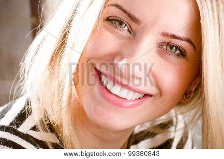 woman showing great dental whitening teeth