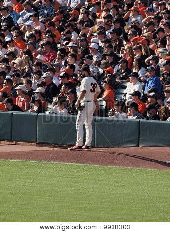 Closer Brian Wilson Stands On The Mound In Bullpen Waiting To Be Call Into Game