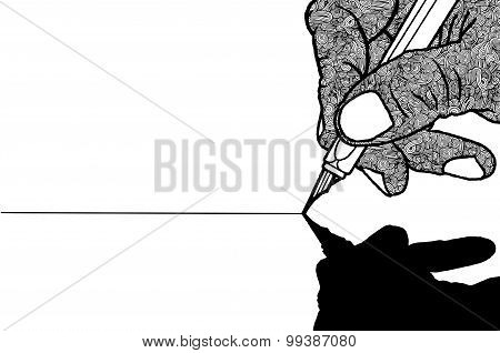 Simple Line Drawing Of Hand Holding A Pen
