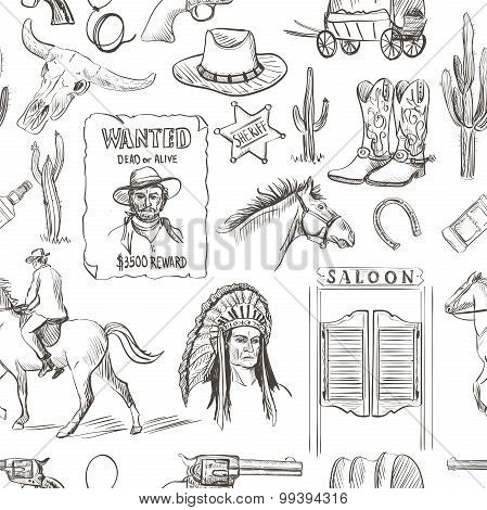 Wild West hand drawn seamless pattern