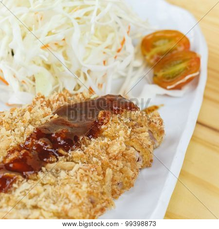 Traditional Japanese Food, Fried Pork (tonkatsu)