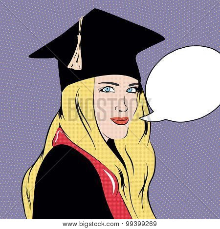 Pop art illustration with educated girl made in vector.