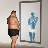 Concept or conceptual 3D fat overweight vs slim fit with muscles young man on diet reflecting in a mirror poster