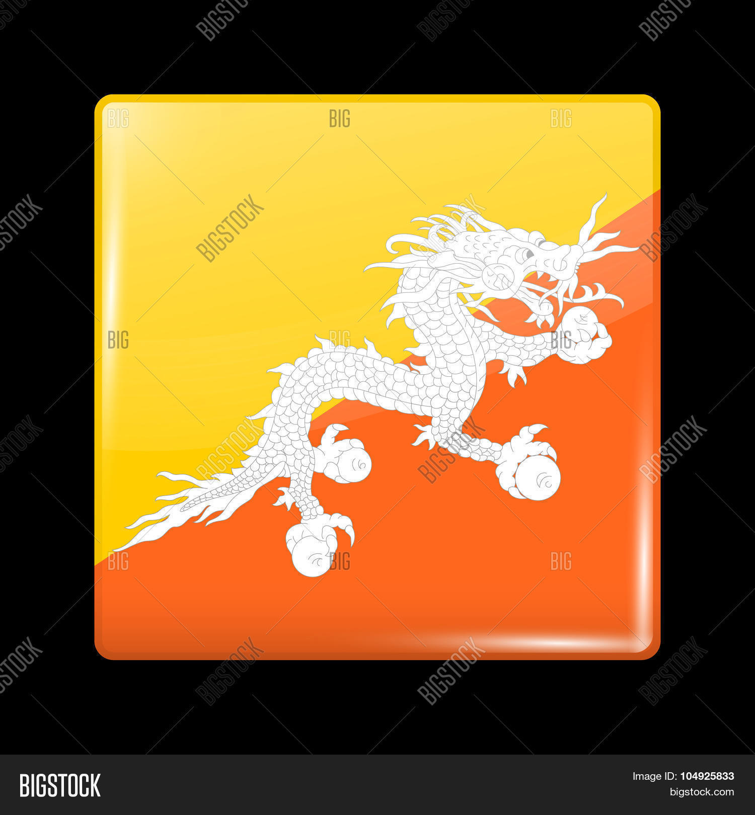Flag Bhutan  Glassy Vector & Photo (Free Trial)   Bigstock