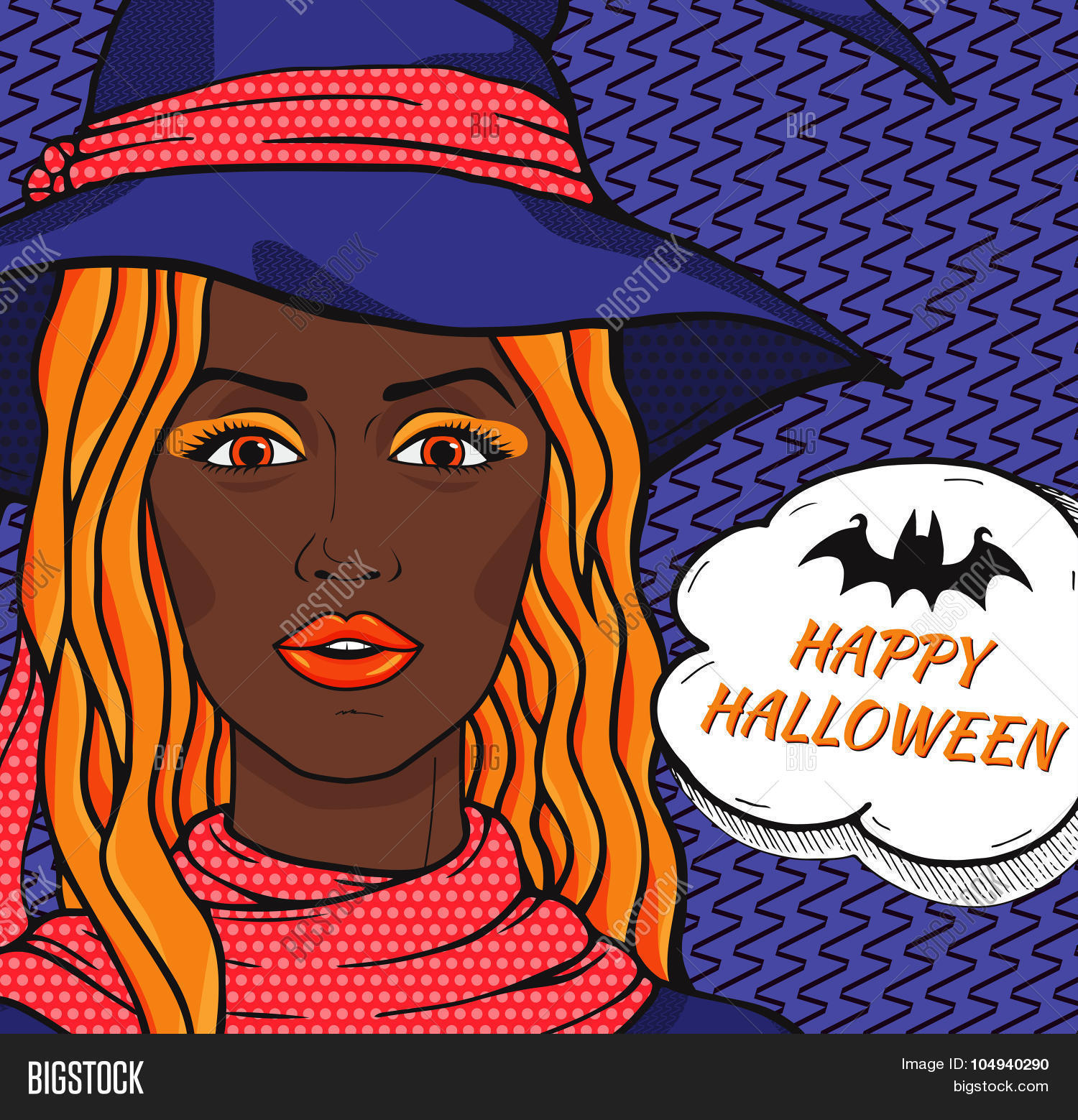 Happy Halloween Card With Retro African American Woman Witch In Pop Art  Comic Style, Vector