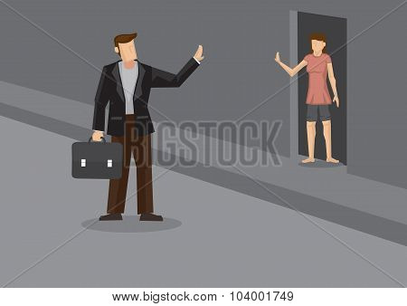 Off To Work And Wave Goodbye Cartoon Vector Illustration