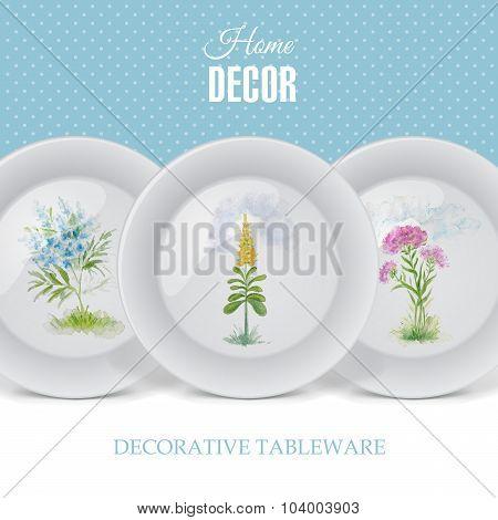Advertising Banner With Decorative Ceramic Tableware