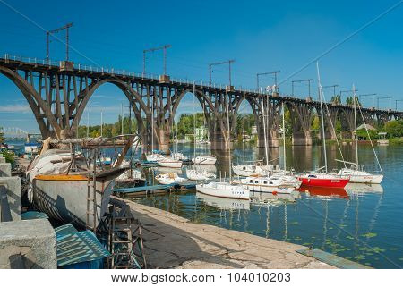 City yacht-club anchorage located at Merefo-Hersonsky bridge in Dnepropetrovsk