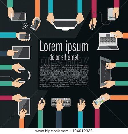 Hands holding various high-tech devices.  Flat design vector illustration of hands holding computer and communication devices. Concept illustrating  business meeting. Brainstorming