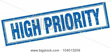 high priority blue square grunge stamp on white poster