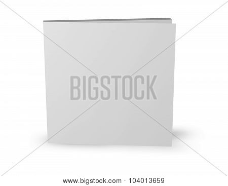 Square Booklet Template Standing Isolated On White.