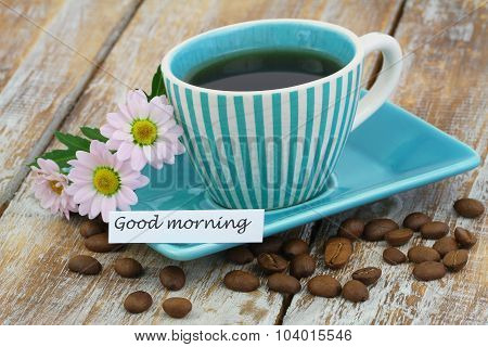 Good morning card with cup of coffee and pink daisies