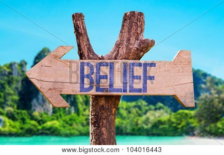 Belief arrow with beach background