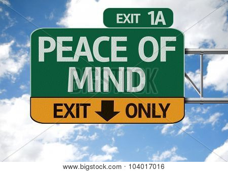 Peace of Mind road sign with sky background