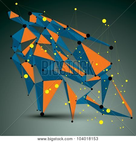 Vector complicated 3d figure modern digital technology style form. Abstract lattice futuristic design. poster