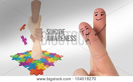 Fingers crossed like a couple against suicide awareness graphic